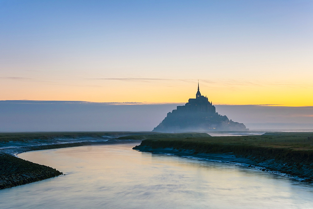 Le Mont-Saint-Michel at dawn, UNESCO World Heritage Site, Manche Department, Normandy, France, Europe