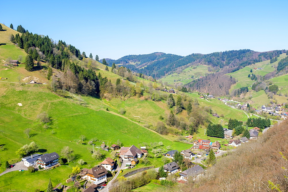 Mountainous landscape in the Upper Münster valley in early spring, Breisgau-Hochschwarzwald, Baden-Württemberg, Germany.