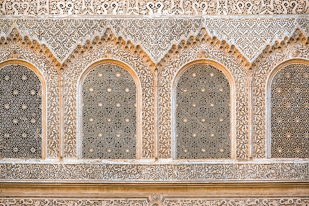 Carved plaster wall, Ben Youssef Madrasa, 16th century Islamic College, UNESCO World Heritage Site, Marrakesh, Morocco, North Africa, Africa