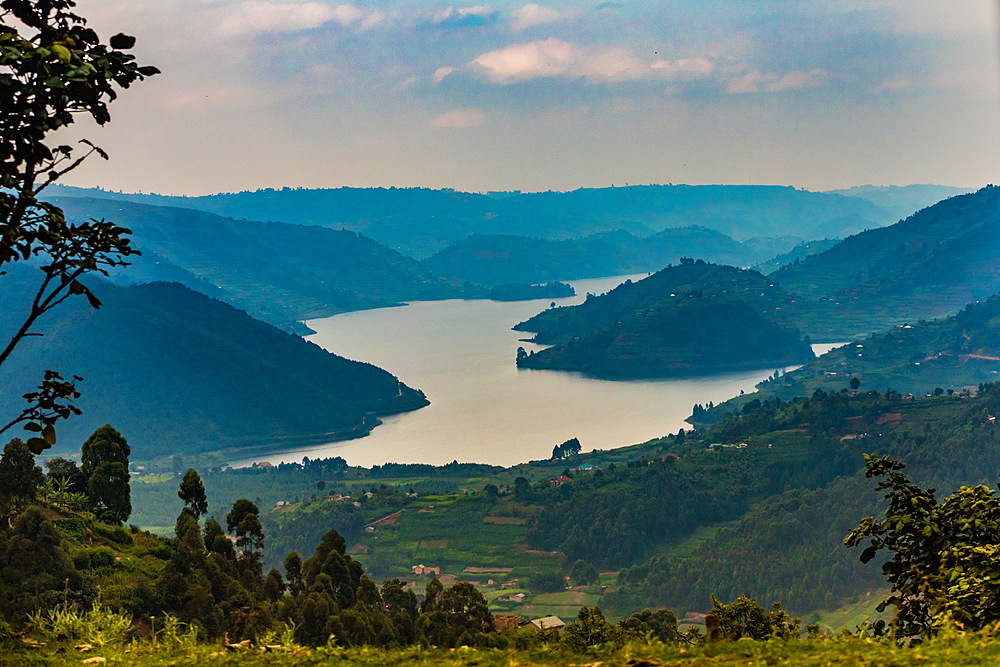Driving by Lake Bunyonyi in Uganda, East Africa, Africa