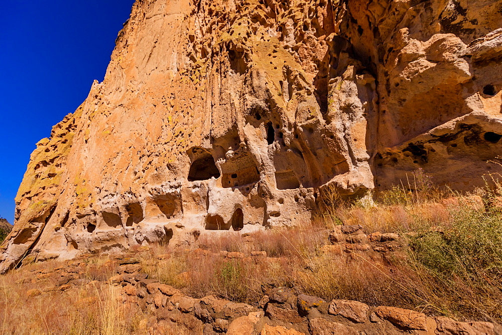 Cave dwellings on the Cliffside of Pueblo Indian Ruins in Bandelier National Monument, New Mexico, United States of America, North America