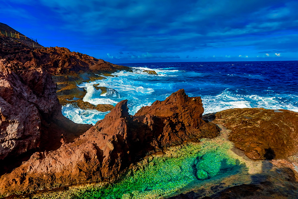 Saba Island ocean waves, Netherlands Antilles, West Indies, Caribbean, Central America