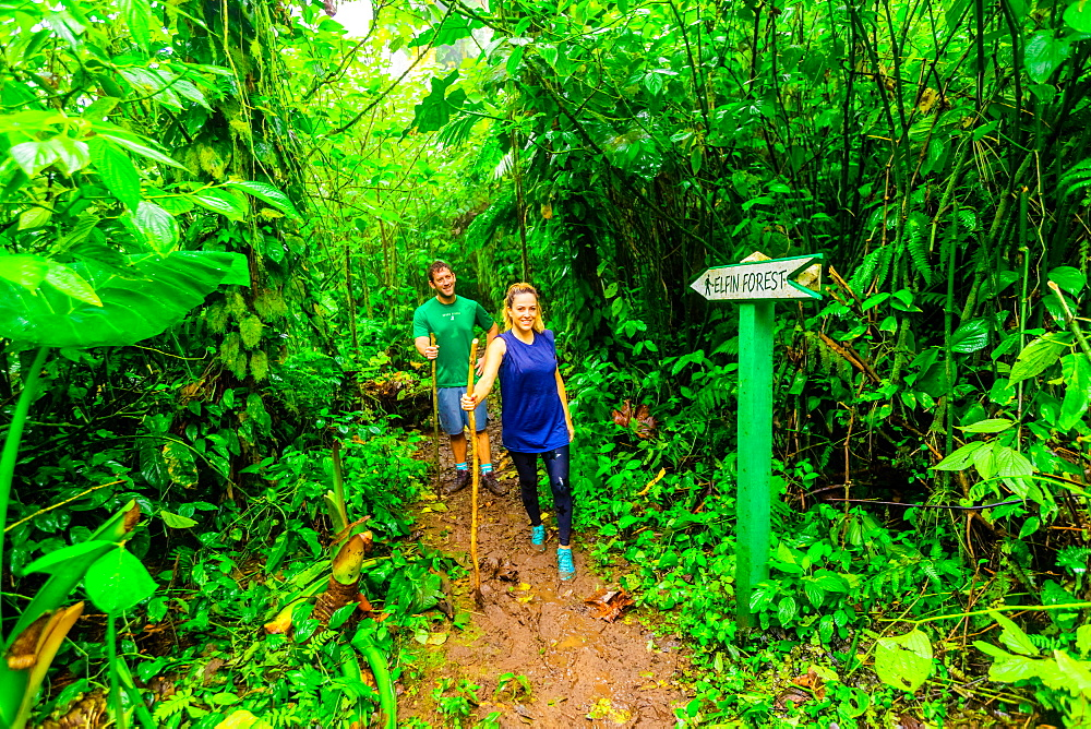 Couple and woman hiking through the jungle on Saba Island.