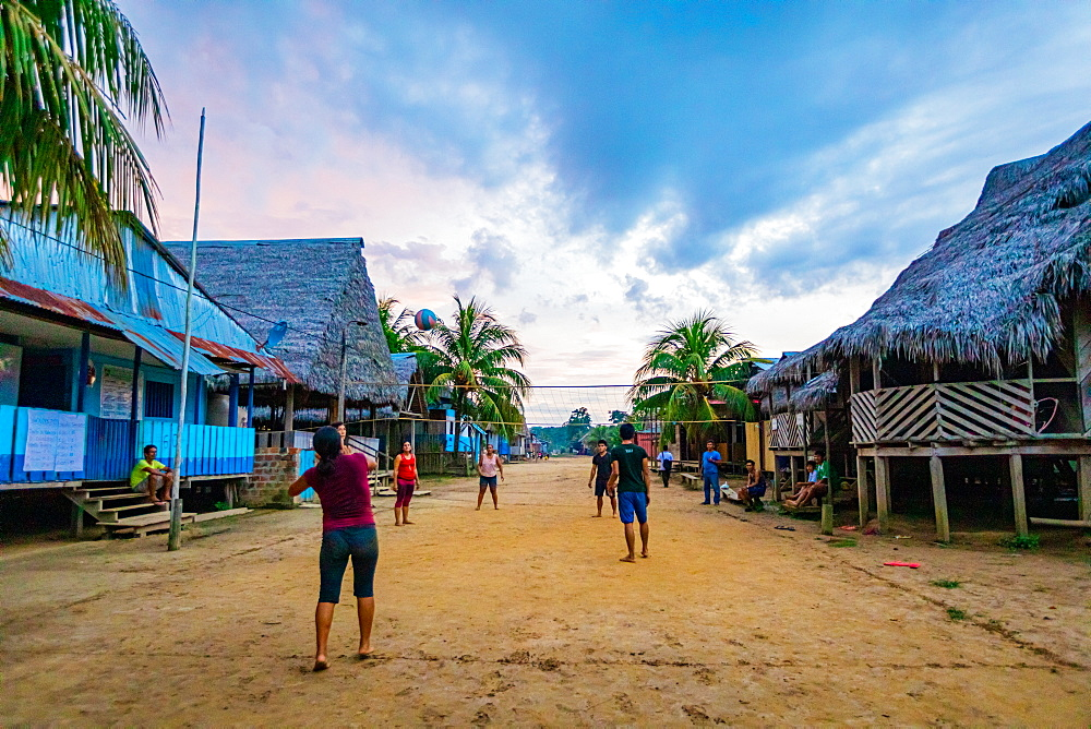 Local village along the Amazon River.
