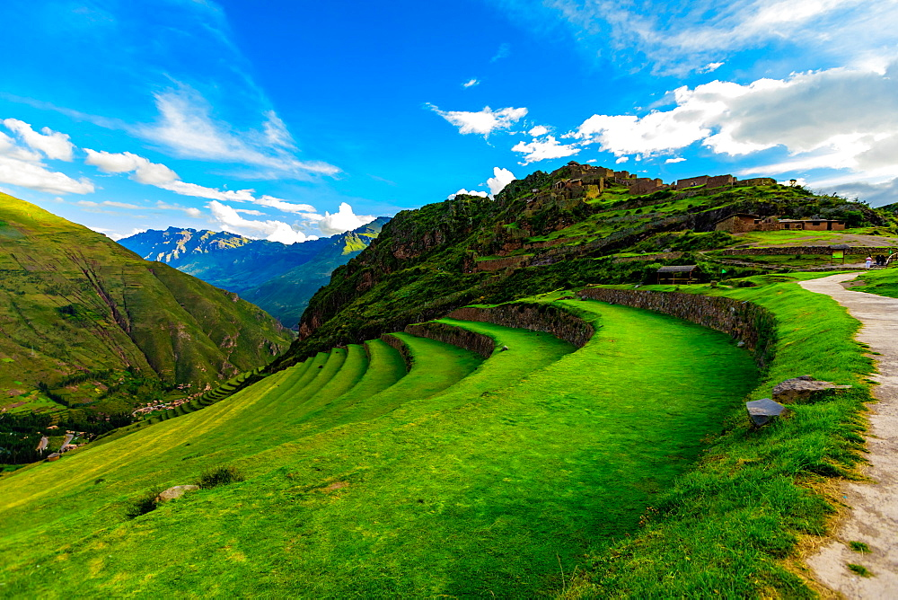 Beautiful terraces on the mountain side at Pisac. - 1218-1237