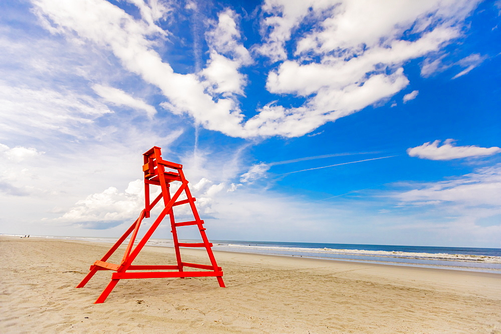 Empty lifeguard chair on empty Jacksonville beach during closing hours during Covid-19 pandemic, Florida, United States of America, North America - 1218-1294