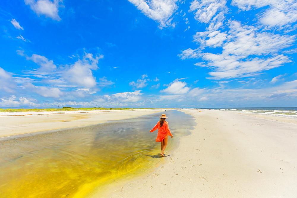 White sand beaches on Ship Island, Gulf Coast, Mississippi, United States of America, North America
