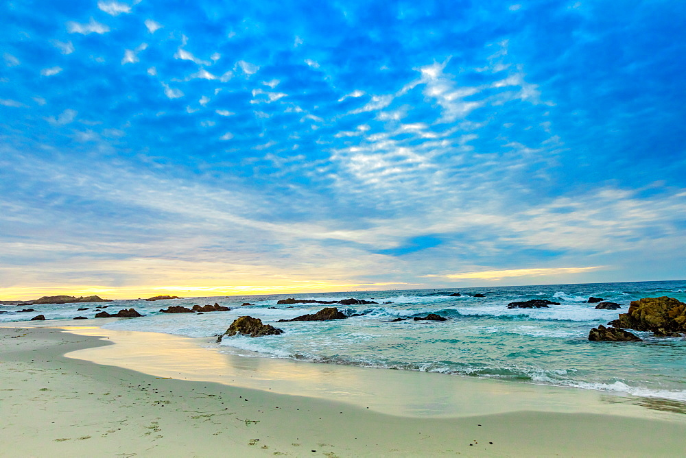 Sunset view of the beach overlooking the ocean, Carmel, California, United States of America, North America - 1218-1400