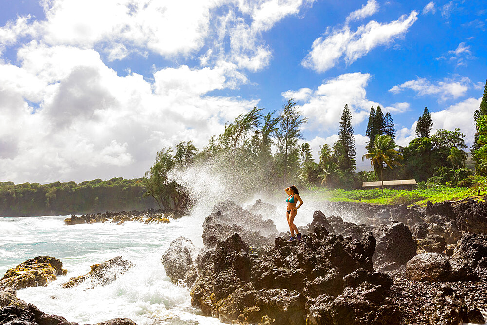 Woman enjoying the oceanside on Maui, Hawaii, United States of America, North America - 1218-1413