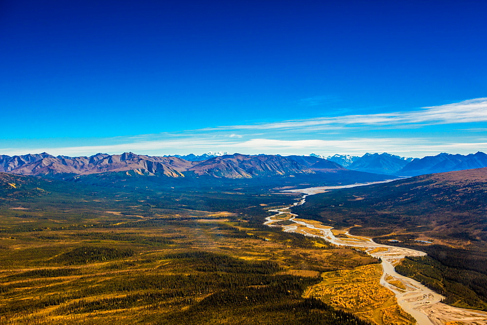 Aerial shot of Alaskan Mountain Range, Alaska, United States of America, North America
