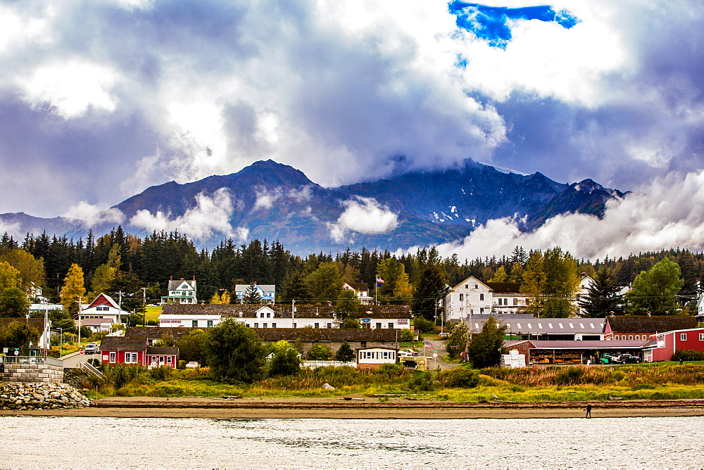 View of port in Haines, Alaska, United States of America, North America