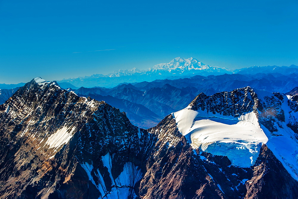 Flightseeing through peaks of Mt. Denali and the Alaskan mountain range, Alaska, United States of America, North America