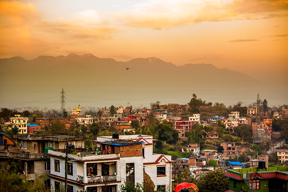 Sunrise over the medieval village of Bhaktapur (Bhadgaon), Kathmandu Valley, Nepal, Asia