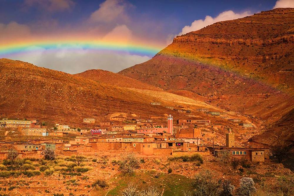 Rainbow over the Dades Gorges, Morocco, North Africa, Africa