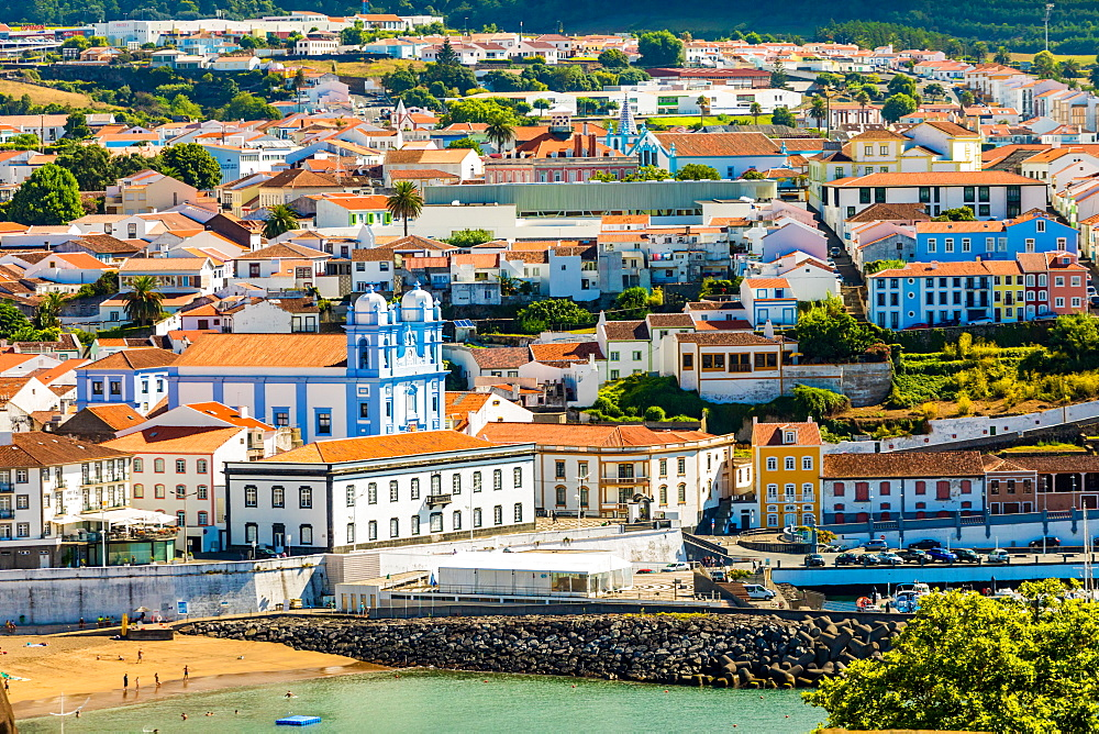 View of houses and buildings in Angra do Heroismo on Terceira Island, one of the Azores Islands, Portugal., Atlantic, Europe