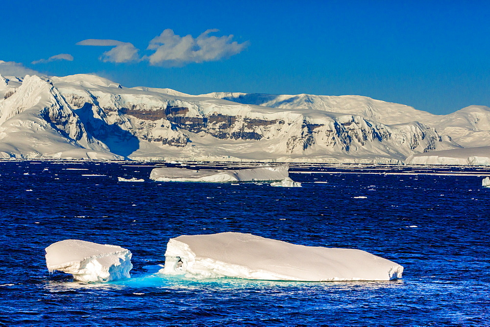 Scenic view of the glacial ice and floating icebergs in Antarctica, Polar Regions