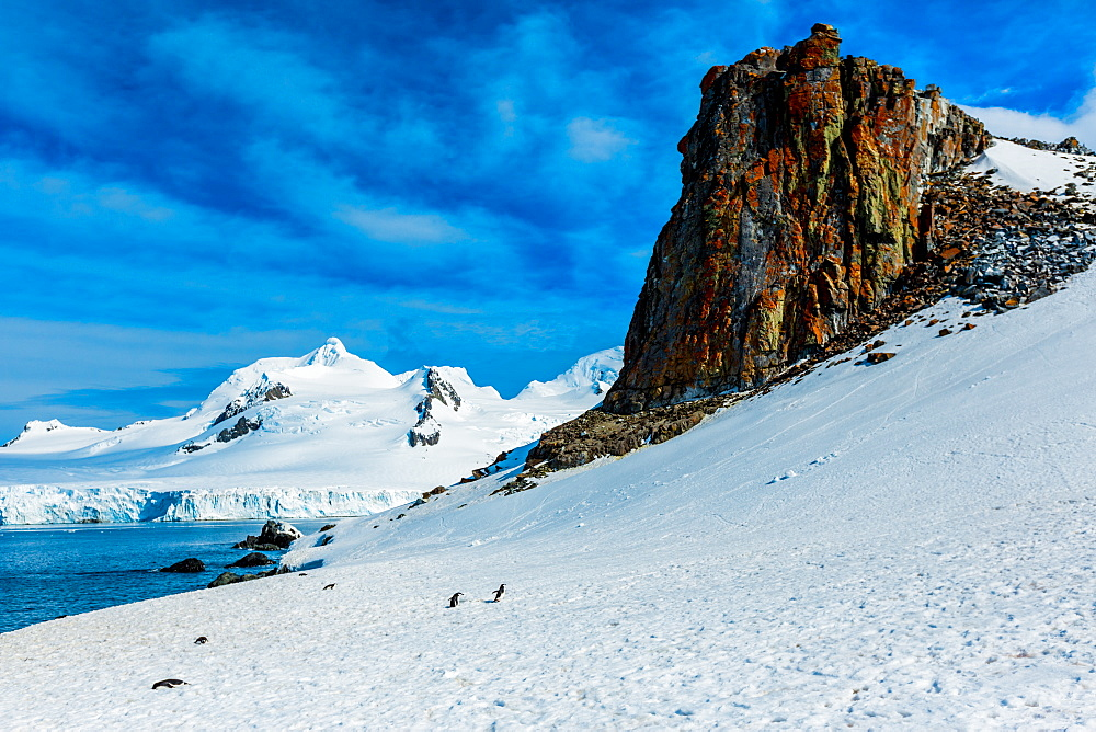 Scenic view of the glacial ice and floating icebergs in Antarctica.