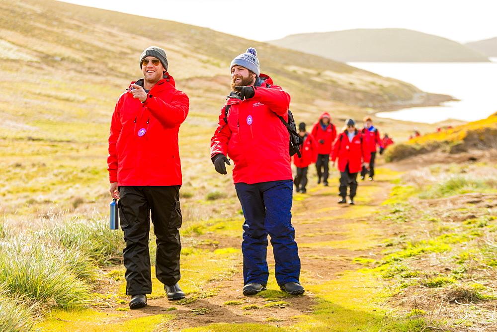 Exploring New Island on the Falkland Islands.