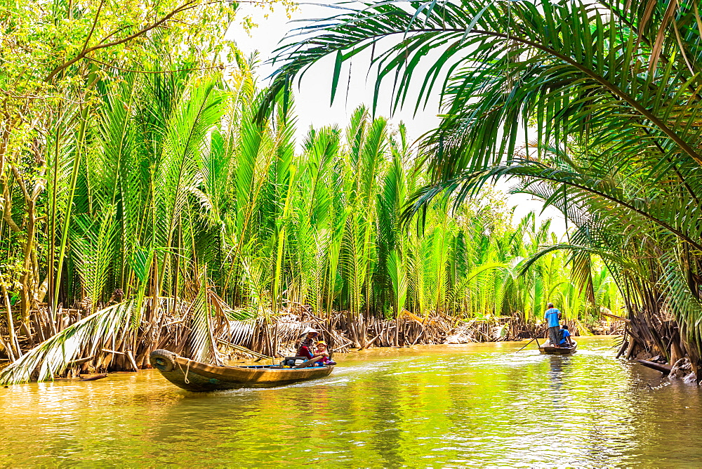Sailing on the tributaries of the Mekong River, Vietnam, Indochina, Southeast Asia, Asia