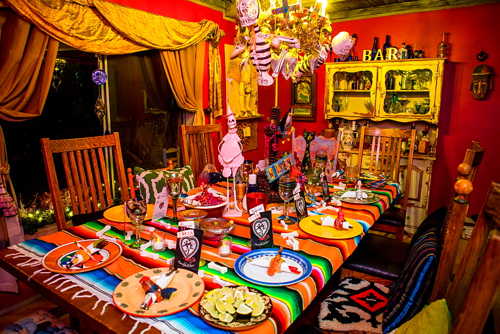 Day of the Dead themed dinner and celebration in the desert, California, United States of America, North America