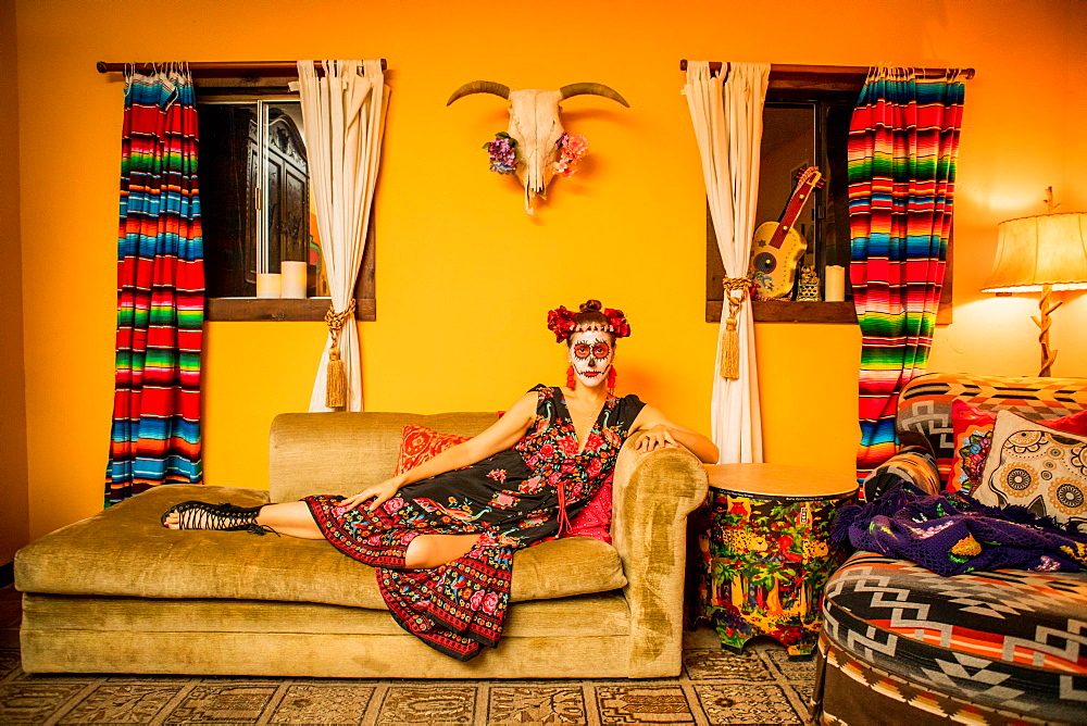Woman in Dia de los Muertos makeup and costume, Day of the Dead celebration in the desert, California, United States of America, North America - 1218-902
