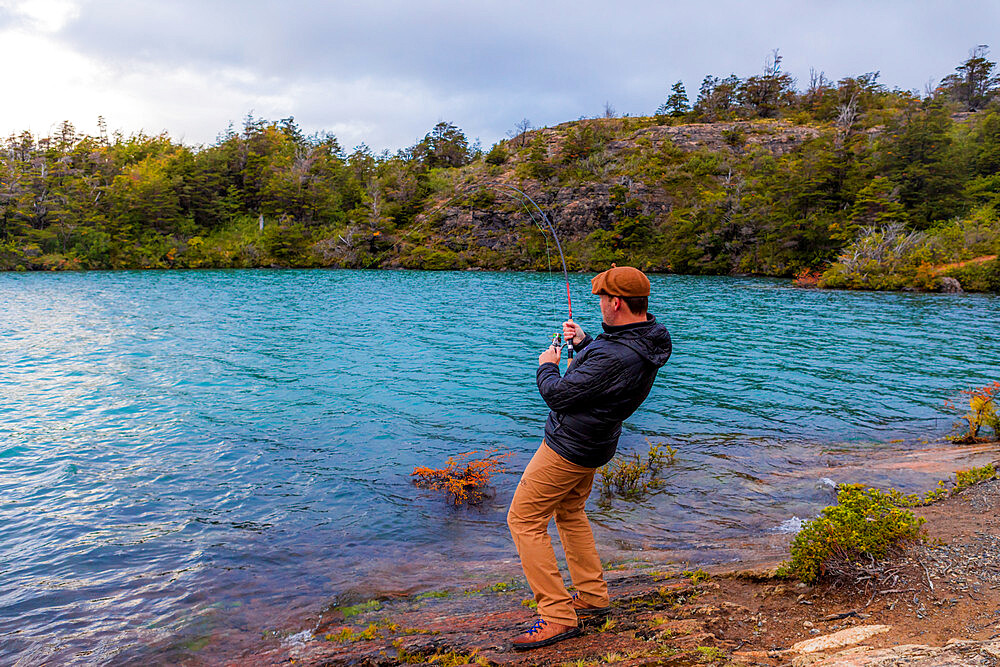 Fishing in Toro Lake, Patagonia