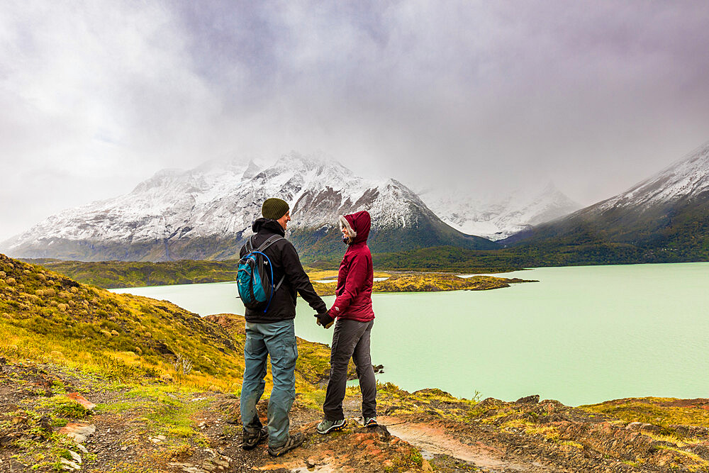 Enjoying the peaceful and beautiful scenery of Torres del Paine National Park, Patagonia, Chile