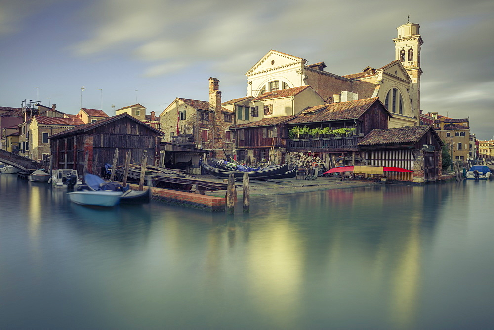 A 17th-century traditional wooden boatyard with gondolas in Squero di San Trovaso, Dorsoduro, Venice, UNESCO World Heritage Site, Veneto, Italy, Europe