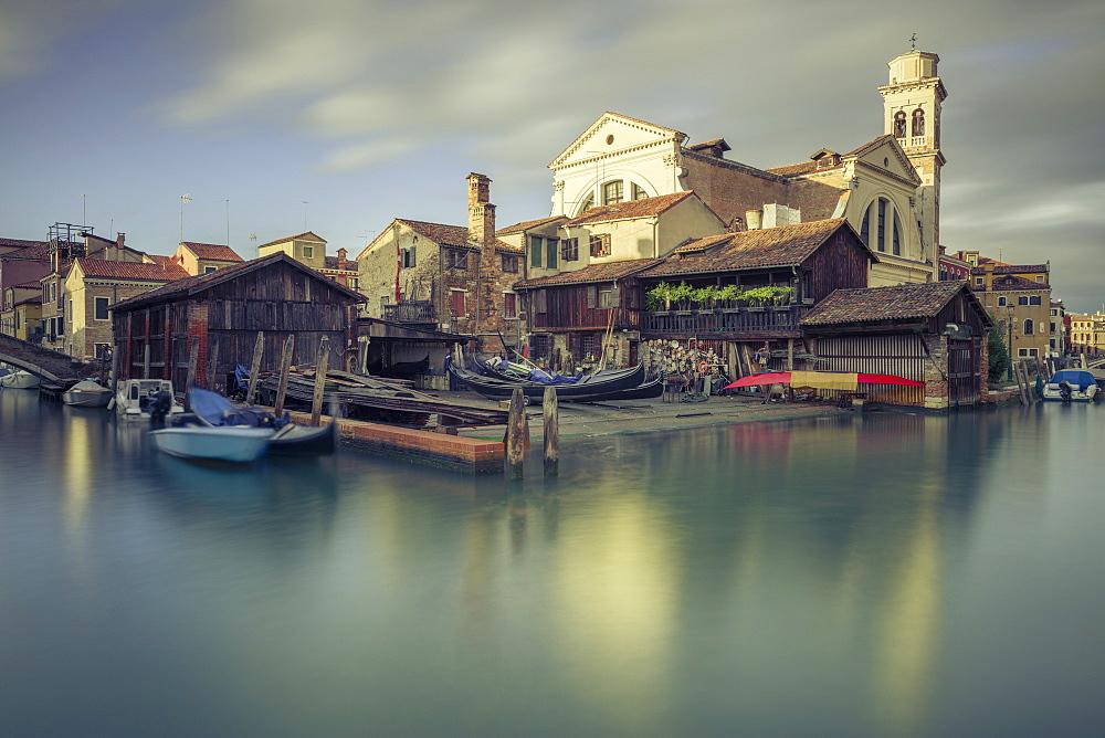 A 17th-century traditional wooden boatyard with gondolas in Squero di San Trovaso, Dorsoduro, Venice, UNESCO World Heritage Site, Veneto, Italy, Europe