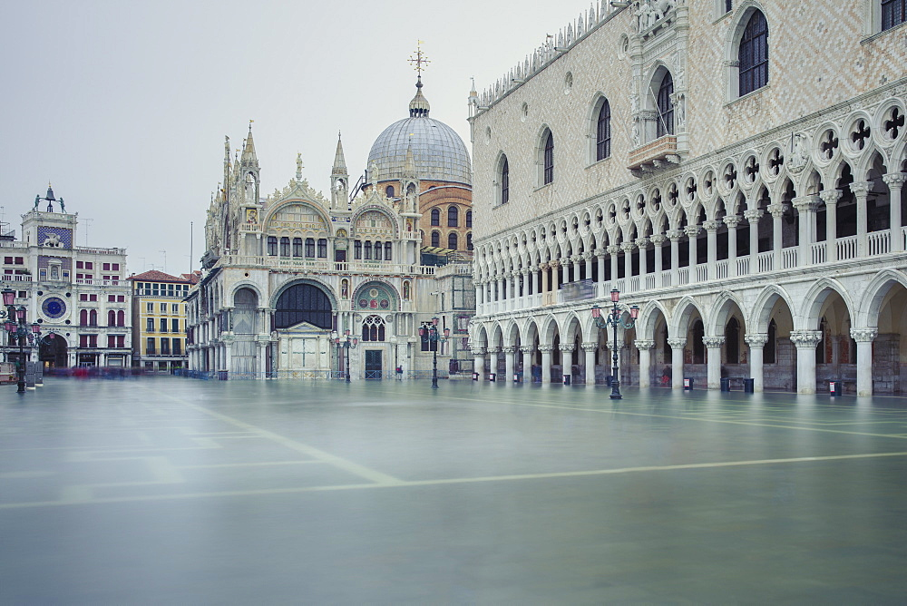 A flooded Piazetta di San Marco after high tide (acqua alta) surrounded by the Doge's Palace and St. Mark's Basilica, Venice, UNESCO World Heritage Site, Veneto, Italy, Europe - 1219-283