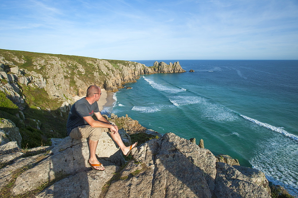 Looking over Treen beach in Cornwall