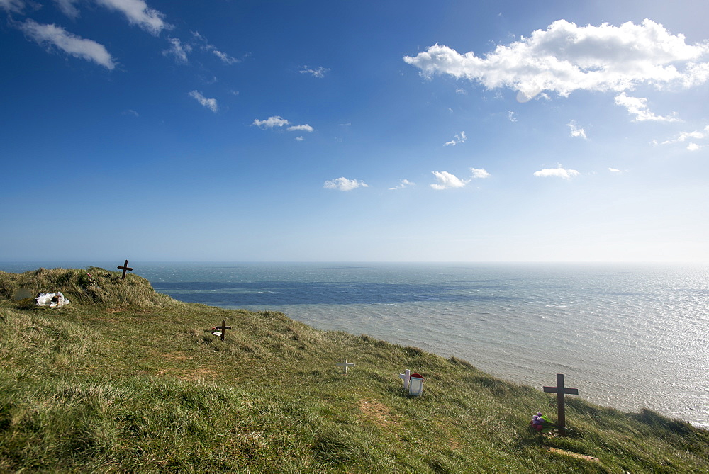 Graves on the cliffs at Beachy Head, South Downs National Park, East Sussex, England, United Kingdom, Europe