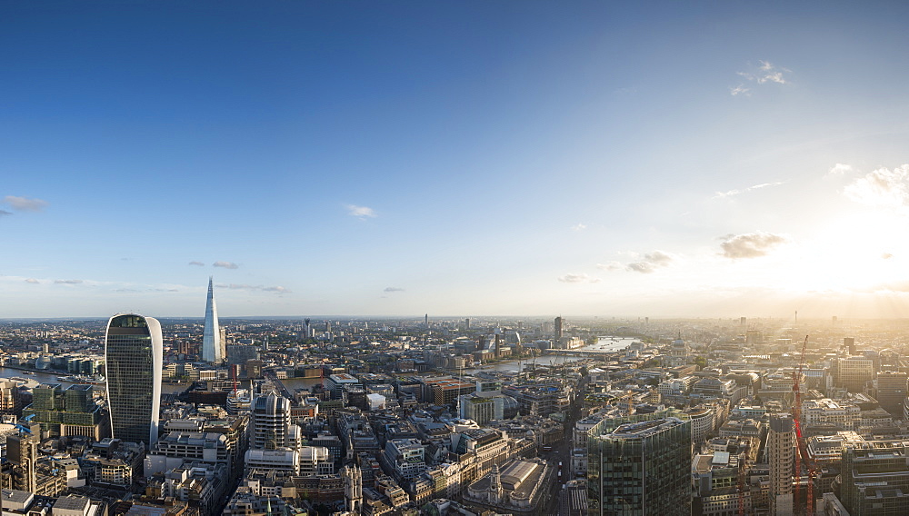 A view of London with 20 Fenchurch Street (The Walkie Talkie) and The Shard most prominent from the rooftop of Tower 42 in the City of London, London, England, United Kingdom, Europe