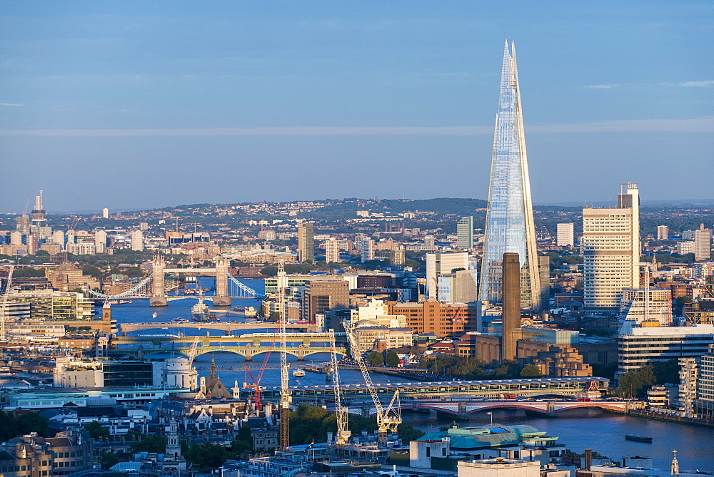 A view of London and the River Thames from the top of Centre Point tower including The Shard, Tate Modern and Tower Bridge, London, England, United Kingdom, Europe