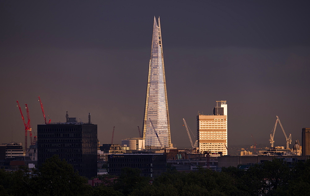 The Shard at sunset from the top of Primrose Hill in London, England, United Kingdom, Europe