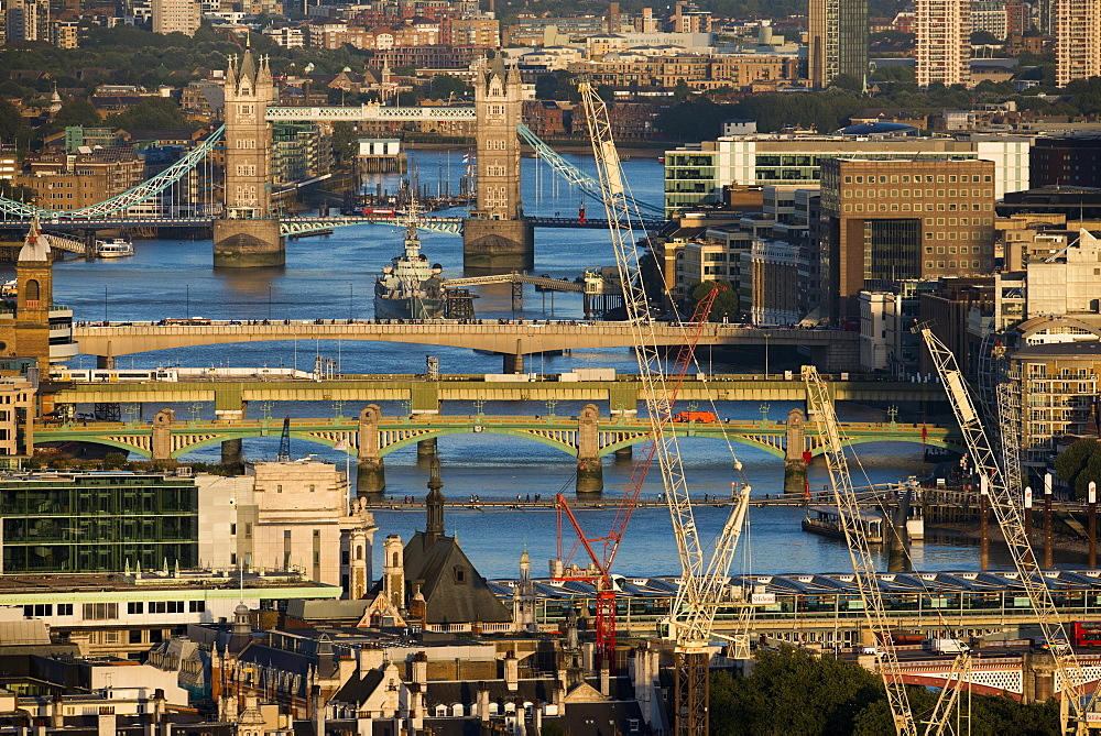 A view of the River Thames and Tower Bridge from the top of Centre Point tower, London, England, United Kingdom, Europe