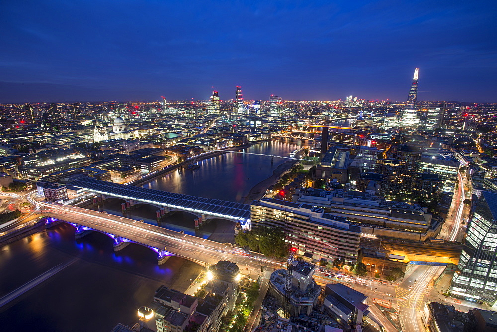 A night-time view of London and the River Thames from the top of Southbank Tower including The Shard, St. Paul's Cathedral and Tate Modern, London, England, United Kingdom, Europe - 1225-1056