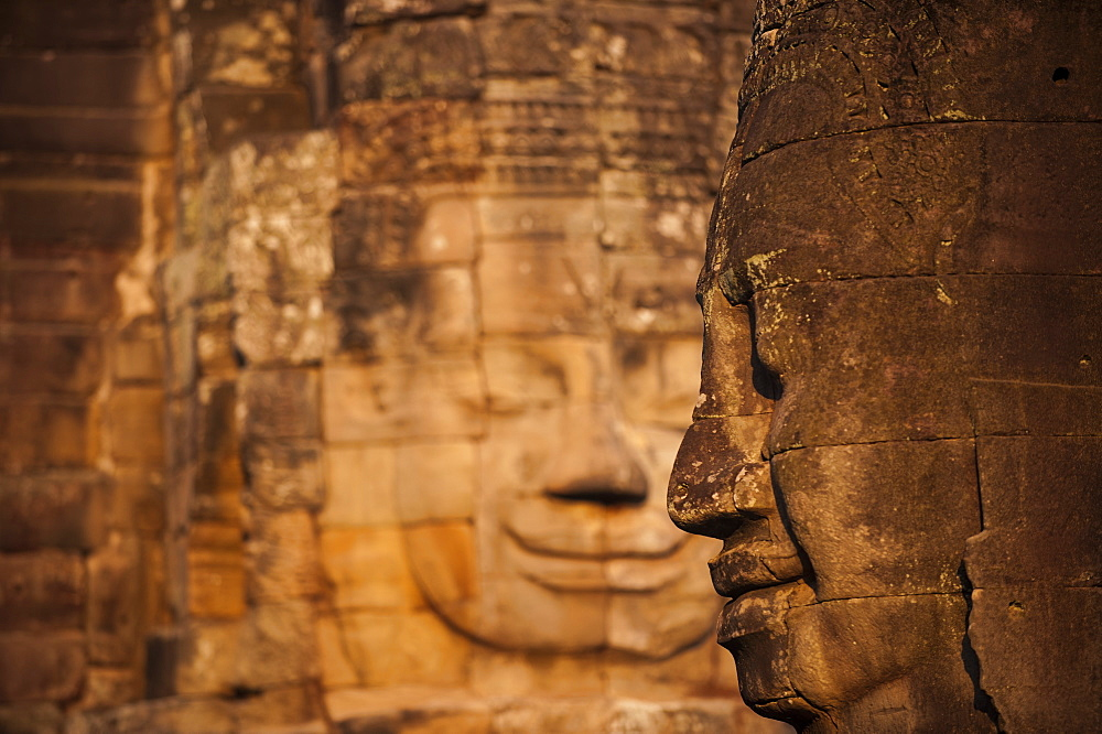 The faces on the Bayon temple at Angkor Wat in Cambodia