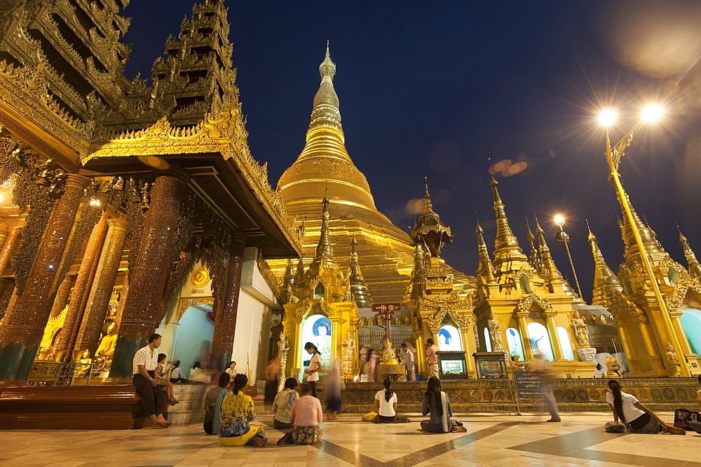 Devotees come to pray at Shwedagon Pagoda, Yangon (Rangoon), Myanmar (Burma), Asia - 1225-1146