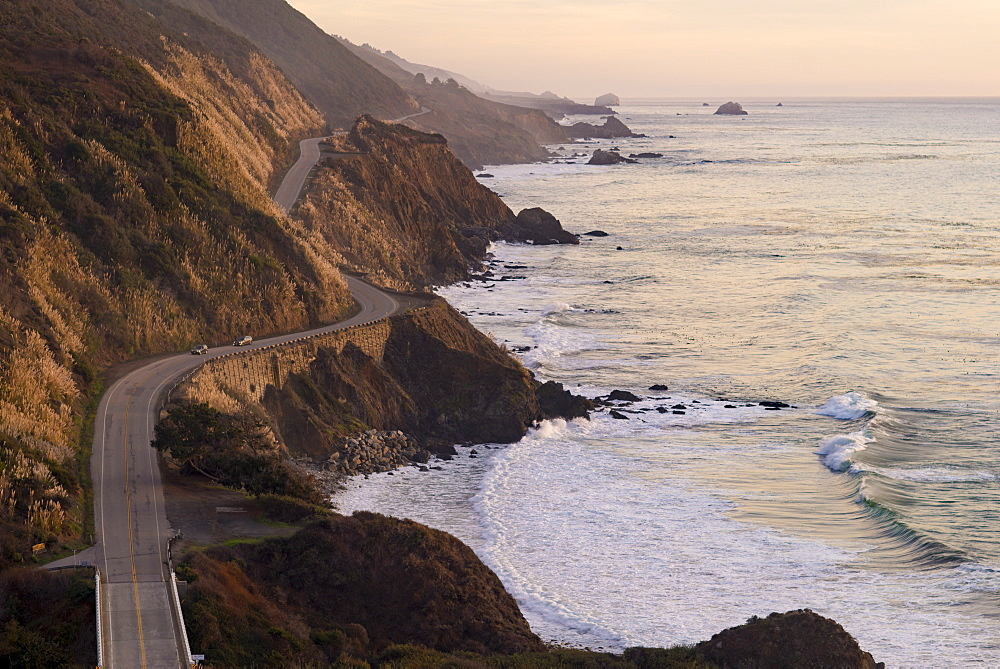 The Pacific Coast State Route Highway One in Pfeiffer Big Sur State Park between Los Angeles and San Francisco in California, United States of America, North America - 1225-1214