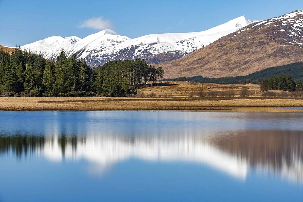 Loch Tulla on the West Highland Way between Bridge of Orchy and Inveroran in the Scottish Highlands, Scotland, United Kingdom, Europe - 1225-1223