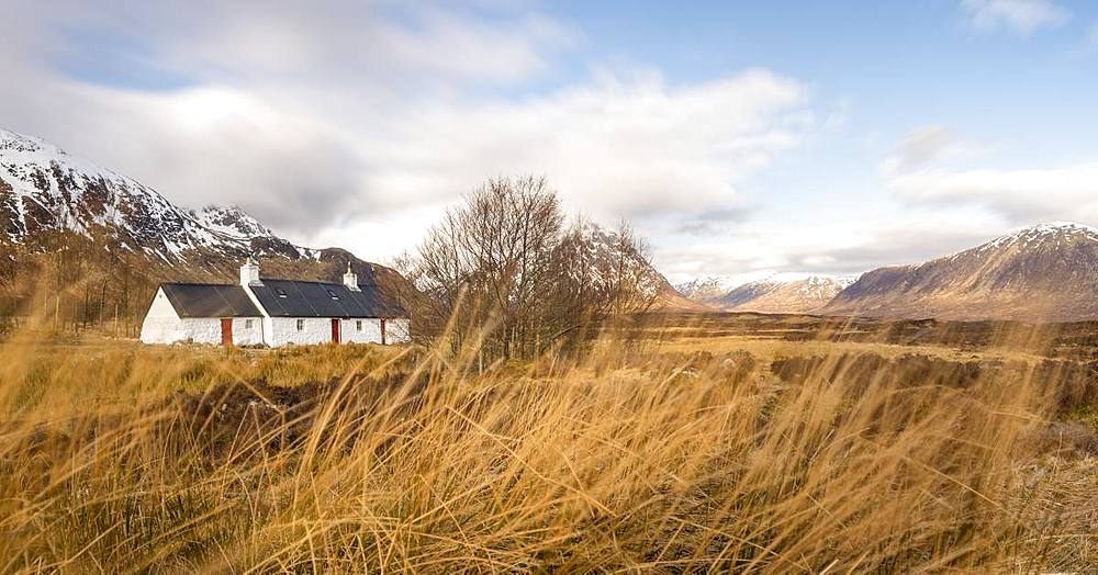 Black Rock Cottage and Buachaille Etive Mor in the Scottish Highlands along the West Highland Way near Glen Coe, Highlands, Scotland, United Kingdom, Europe - 1225-1226