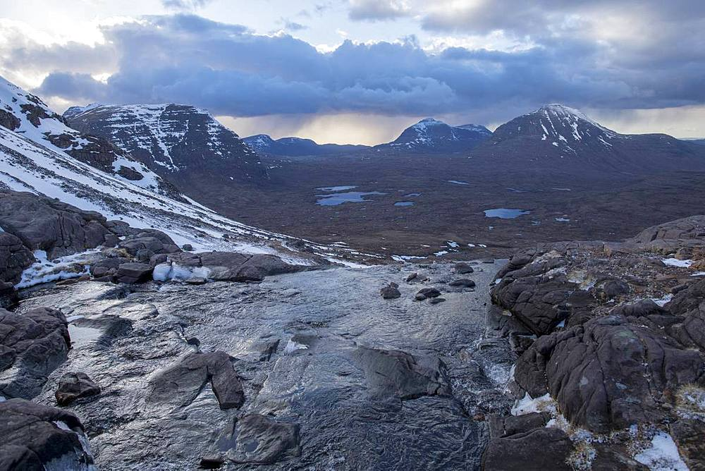 Hiking in the Scottish Highlands in Torridon along The Cape Wrath Trail near Loch Coire Mhic Fhearchair, Highlands, Scotland, United Kingdom, Europe - 1225-1234