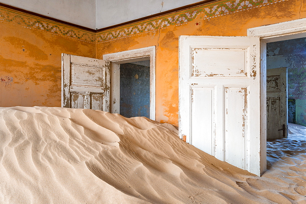 The interior of a building in the abandoned diamond mining ghost town of Kolmanskop, Namibia, Africa - 1225-1240