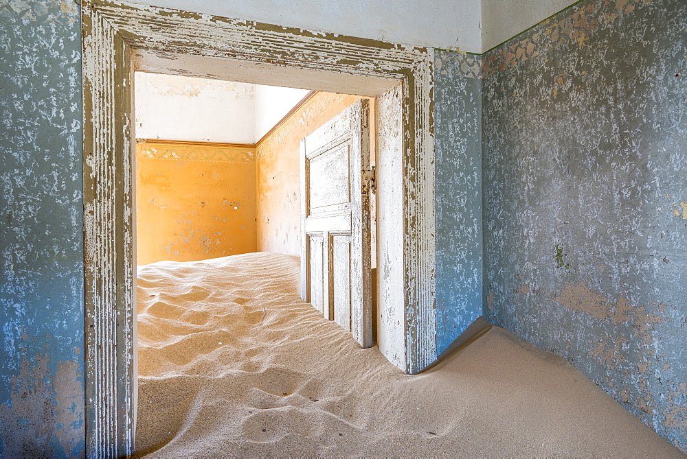 The interior of a building in the abandoned diamond mining ghost town of Kolmanskop, Namibia, Africa - 1225-1242