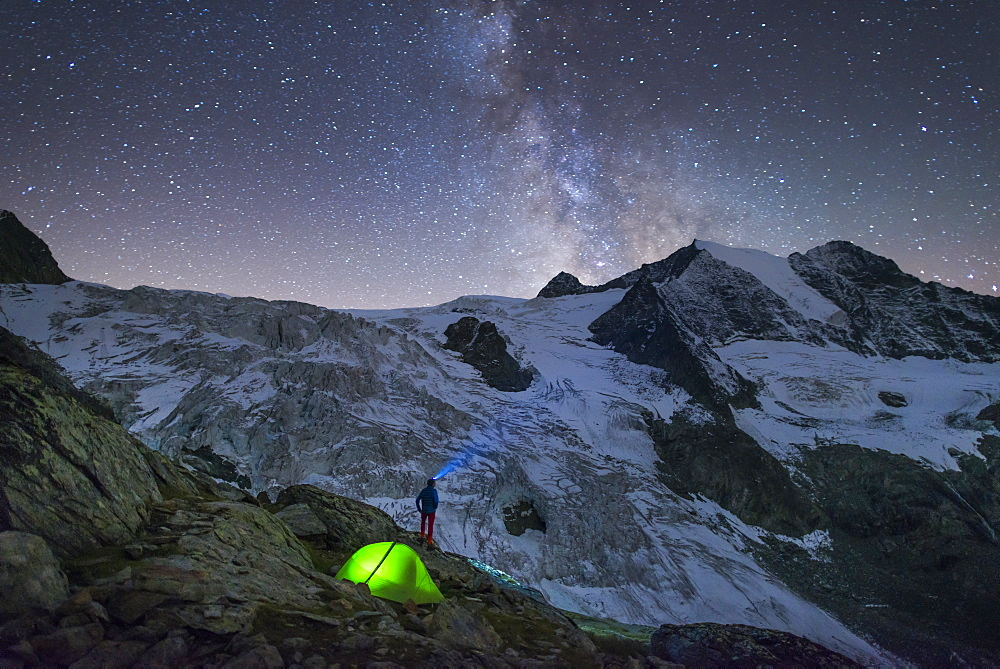 Starry sky and tent along The Walkers Haute Route from Chamonix to Zermatt, Swiss Alps, Switzerland, Europe - 1225-1270