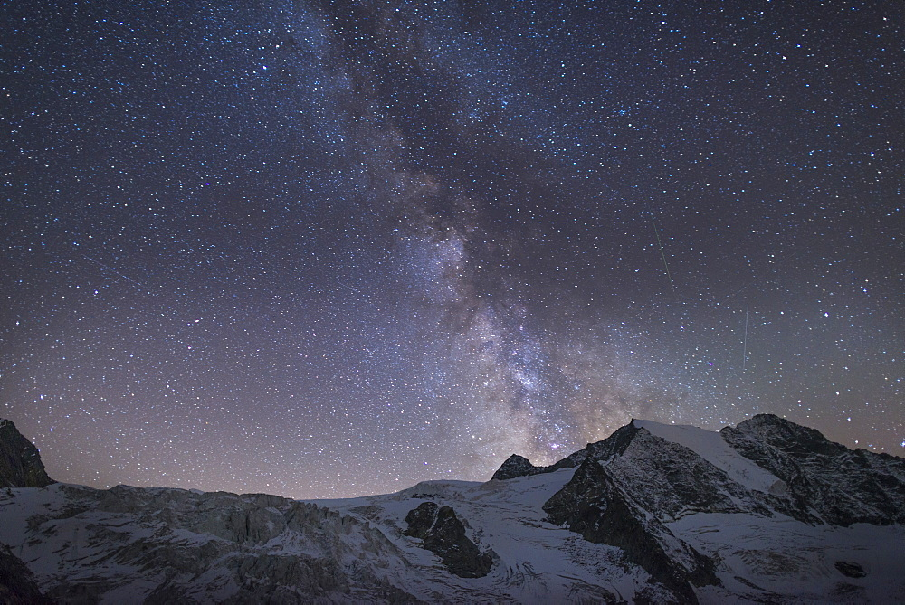 Starry sky along The Walkers Haute Route from Chamonix to Zermatt, Swiss Alps, Switzerland, Europe