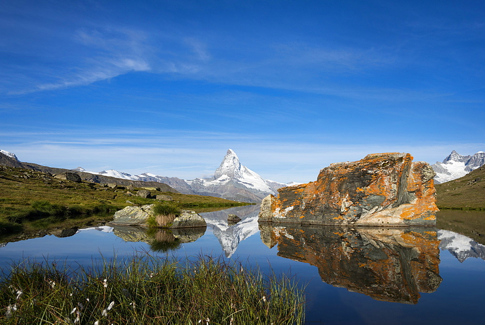 The Matterhorn from Stellisee lake in the Swiss Alps, Switzerland, Europe
