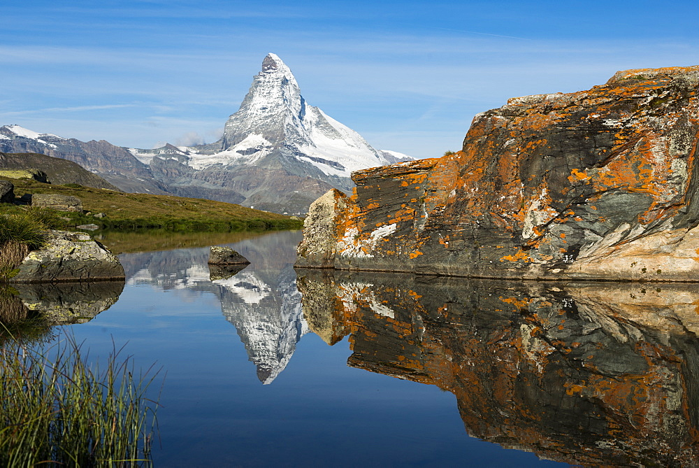 The Matterhorn reflected in Stellisee lake in the Swiss Alps, Switzerland, Europe - 1225-1276