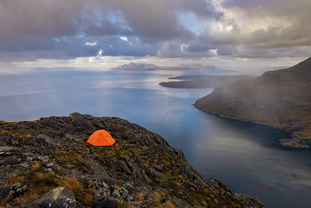Wild camping on the top of Sgurr Na Stri on the Isle of Skye with views towards the Isle of Soay, Isle of Skye, Inner Hebrides, Scottish Highlands, Scotland, United Kingdom, Europe - 1225-1281